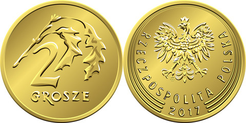 Fototapeta vector Polish Money two Grosze copper coin reverse with Value and 2 leaves obverse with eagle in golden crown obraz