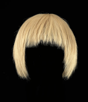 Blonde hair wig, short cut, isolated on black background short cut
