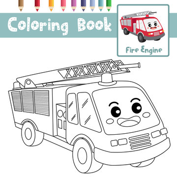 Coloring page Fire Engine cartoon character perspective view vector illustration