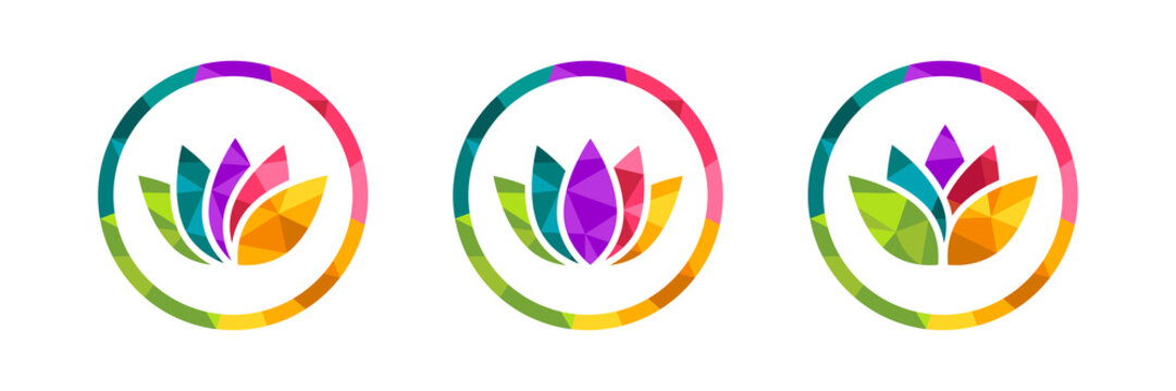 Lotus flower icon set made in colorful low poly design. Polygonal circle with many colors around it. Beautiful and abstract vector illustration isolated on white background.