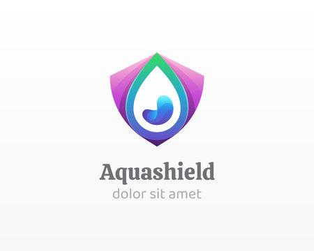 Water drop logo. Creative combination water drop with shield icon