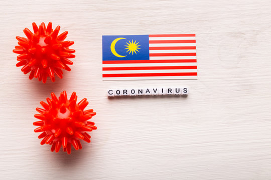 Abstract virus strain model of 2019-nCoV middle East respiratory syndrome coronavirus or coronavirus COVID-19 with text and flag Malaysia on white background. Virus pandemic protection concept.