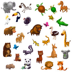 big set of animals isolated on white, pencil style