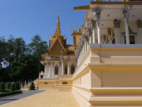 PHNOM PENH, CAMBODIA - Novemnber 2019: Royal Palace and silver Pagoda.