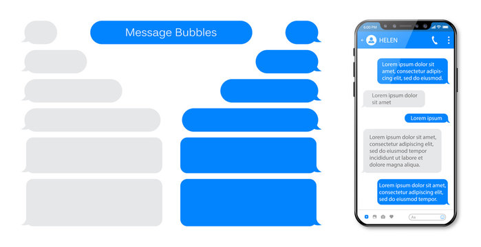 Smart Phone chatting sms template bubbles. Place your own text to the message clouds. Compose dialogues using samples bubbles.