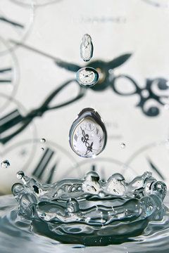 Drop of time. Play with water and clocks. Closeup drops of water.