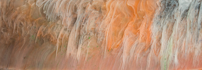 Abstract brush paint with liquid fluid wave flowing in green brown orange yellow colors. Abstract...