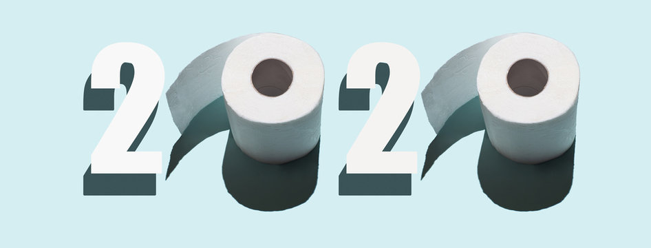 2020 from toilet paper. A concept on the topic of the virus