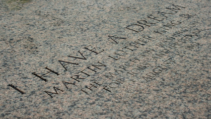 Martin Luther King inscription on the steps of the Capitol Building, Washington DC, USA