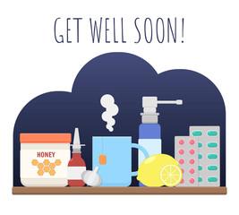 Vector image of a flu sick objects set (honey, nose spray, hot tea, garlic, lemon, throat spray, tablets). Dark blue background. Flat graphics.