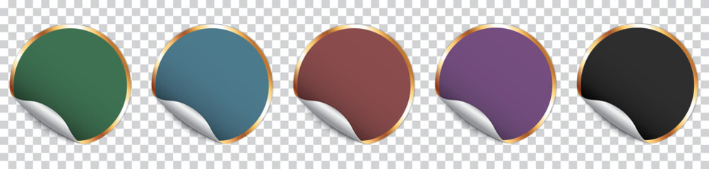 set of colorful round sticker banner with golden frame on transparent background Fotomurales