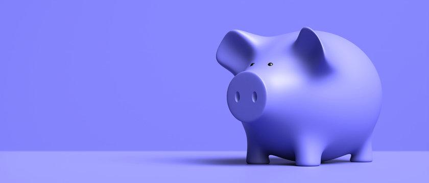 Piggy bank blue, on blue background. 3d illustration