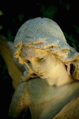 Wall Mural - Beautiful sad angel. Fragment of ancient stone statue with a sweet expression that looks down as symbol of unspeakable sadness and death.