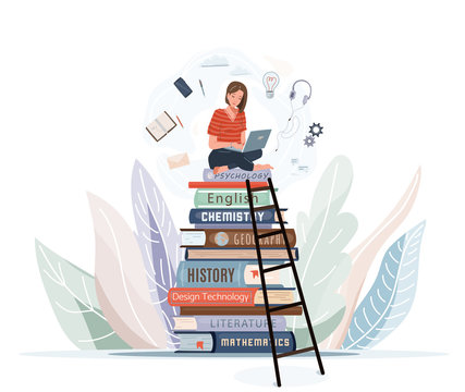 Girl sitting on pile of books with open laptop on her knees. Online library, study, e learning concept design. Vector illustration in trendy flat style isolated on white background