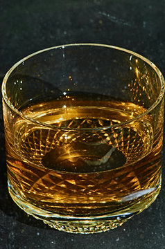 Close up of whiskey in glass
