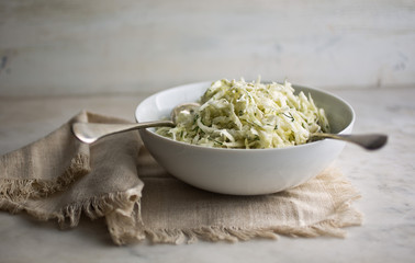 Turnip and cabbage slaw with yogurt dressing and dill