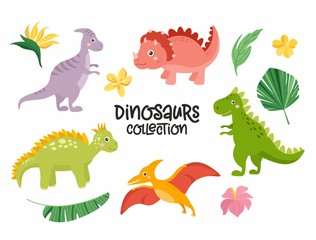 Set of cute dinosaurs isolated on white background. Kids illustration. Funny cartoon Dino collection. Tropical leaves, dino eggs, rainbow.