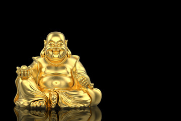 3d rendering. Chinese golden happy smiling monk buddha statue with clipping path isolated on black background.
