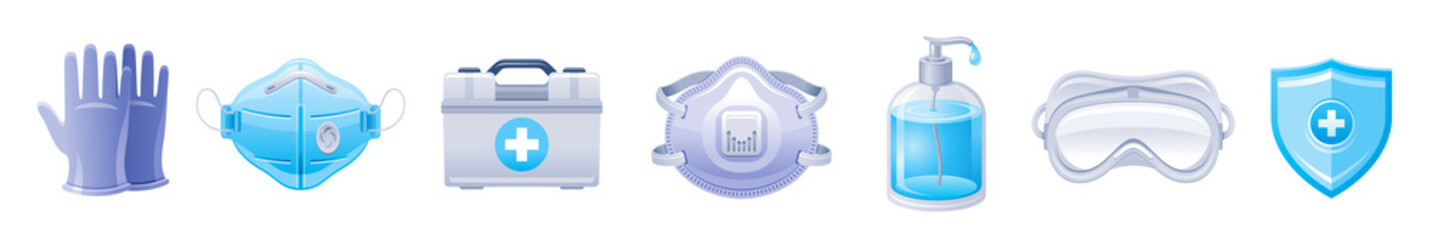 PPE icon set. Corona virus Covid 19 protect equipment. Respirator surgical mask, glasses, gloves Coronavirus prevention, medical elements collection. Vector illustration isolated on white background Fototapete