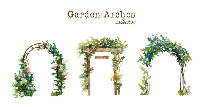 Set of watercolor garden arches with blooming white and pink roses. Original illustration for wedding environment and landscape design