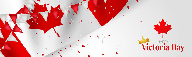Victoria Day Canada Holiday banner or website header background. Waving national white and red flag with maple leaf, bunting and confetti. Vector illustration with lettering. Fototapete