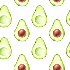 Avocado seamless pattern. Hand drawn watercolor pattern. For the design of menus, napkins, wrappers, packages, kitchen, textile design, print, wallpaper.