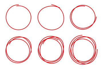 Collection with six hand drawn circle red color and of different design isolated on white background. Vector