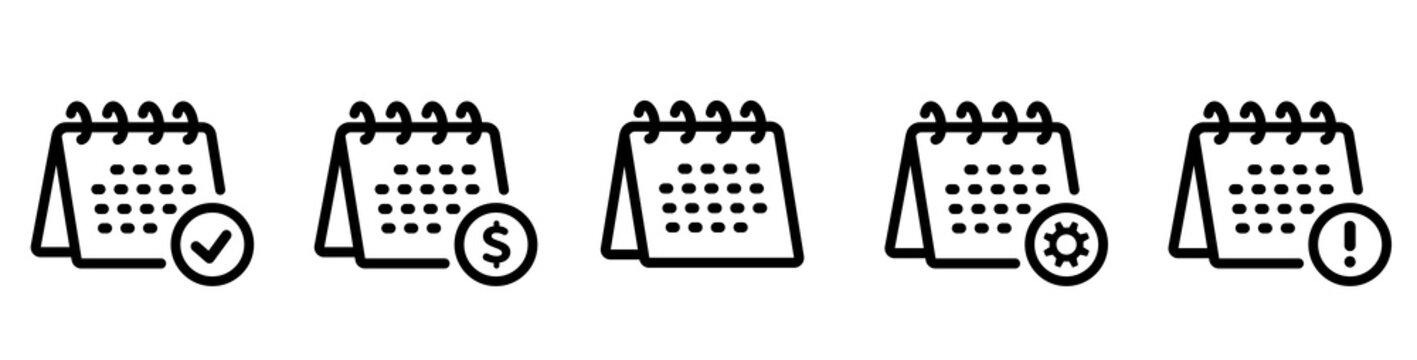 Desk calendar icon. Line style - stock vector.