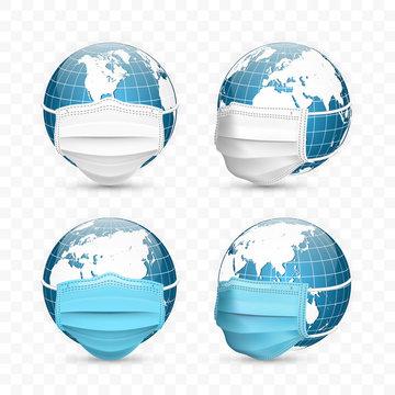 Earth globe in medical face mask. World map set. Vector Illustration