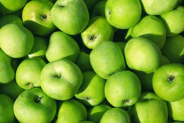 fresh ripe green apples background Wall mural