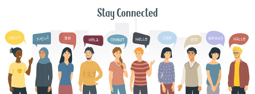 Stay connected. Social Network concept. Multiethnic people saying hello in different languages. Vector illustration