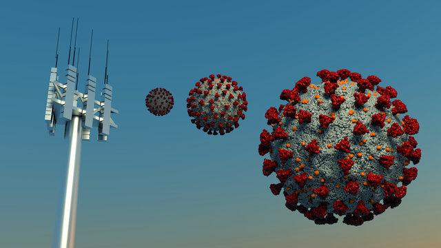 5g Antenna Coronavirus Covid-19 3D illustration