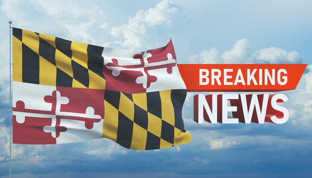 Breaking news. World news with background waving flag of the states of USA. State of Maryland flag. Pandemic 3D illustration.