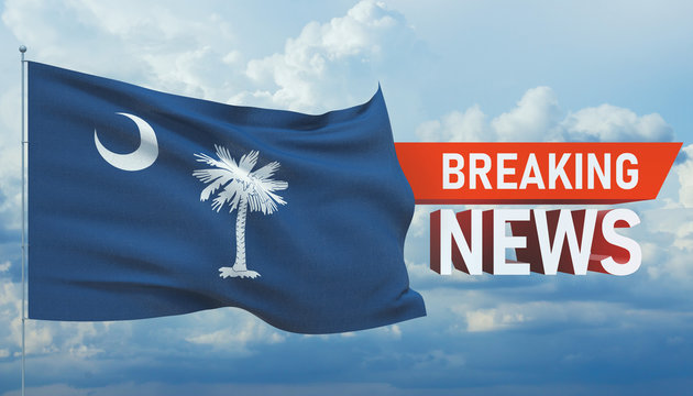Breaking news. World news with background waving flag of the states of USA. State of South Carolina flag. Pandemic 3D illustration.