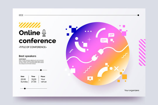 Invitation web banner to the online conference. Business webinar invitation design. Announcement poster concept. Modern abstract technology background with place for text. Vector eps 10.