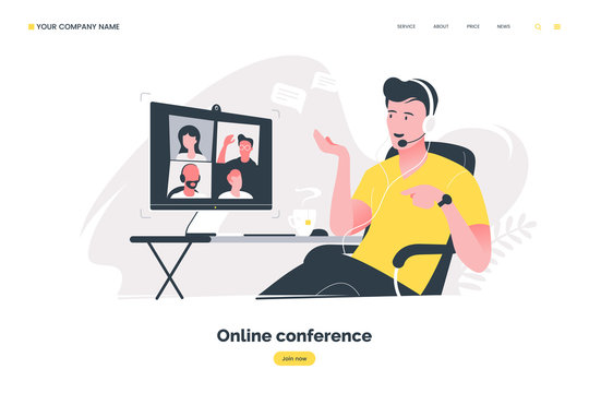 Online conference flat illustration. Man using computer to have video call. Video conferencing concept. Remote work in the home office. Vector eps 10.