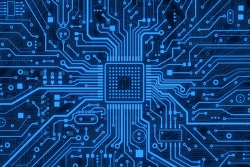 Modern technology. Blue computer microcircuit as background, top view. Illustration Wall mural