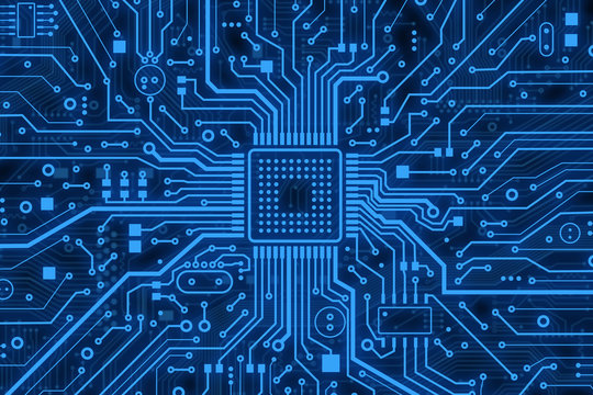 Modern technology. Blue computer microcircuit as background, top view. Illustration
