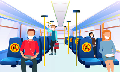 public transport please leave this seat empty for your health social distance vector Wall mural