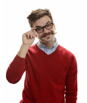 Young funny guy's portait wearing glasses