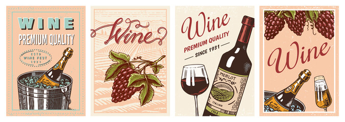 Wine posters or vineyard banners. Sparkling champagne background, Cheers toast and Grape. Hand Drawn engraved vintage old sketch for bar, alcohol label, restaurant menu. Fototapete