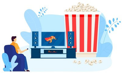 Male character watching home movie theater, big popcorn box, isolated on white, flat vector illustration. Man look at TV screen, superhero movie, cinema. Person cinema lover. Design for website.