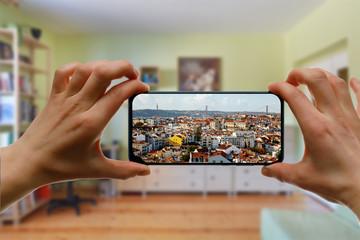Travel at home. Online trip to Lisboa, Portugal by smartphone. - fototapety na wymiar
