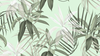 Foliage seamless pattern, green Cordyline fruticosa Firebrand plant and indoor bamboo palm on bright green