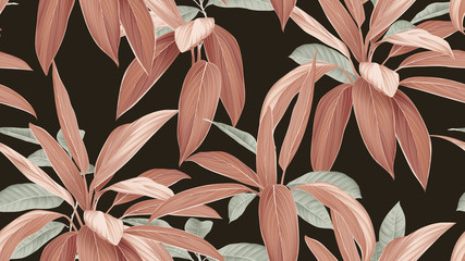 Foliage seamless pattern, brown Cordyline fruticosa Firebrand plant and green leaves on dark grey