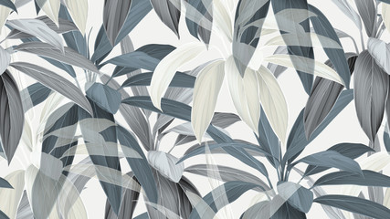 Foliage seamless pattern, blue Cordyline fruticosa Firebrand plant on bright grey