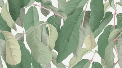 Foliage seamless pattern, pride of India tree on bright grey