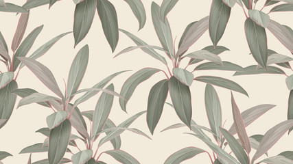Foliage seamless pattern, colorful Cordyline fruticosa Firebrand plant on bright brown