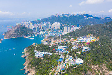 Fototapete - Aerial view of Ocean Park and  Aberdeen, the theme park in Hong Kong