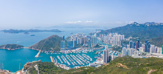 Wall Mural - Aerial view of Aberdeen, Hong Kong, daytime, outdoor